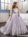 2017 lavender elegante vestido da menina flor para o casamento com frisado cristal arco aberto para trás tule para crianças pageant vestidos com trem