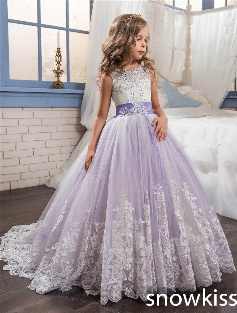 2018 элегантные Лаванда Платья для младенцев для свадьбы с бисером кристалл лук открытой спиной тюль для детей нарядные платья со шлейфом