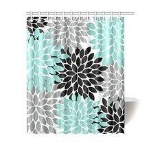 I Manggo Black Grey Green Dahlia Floral Pattern Shower Curtains72x72 InchChina