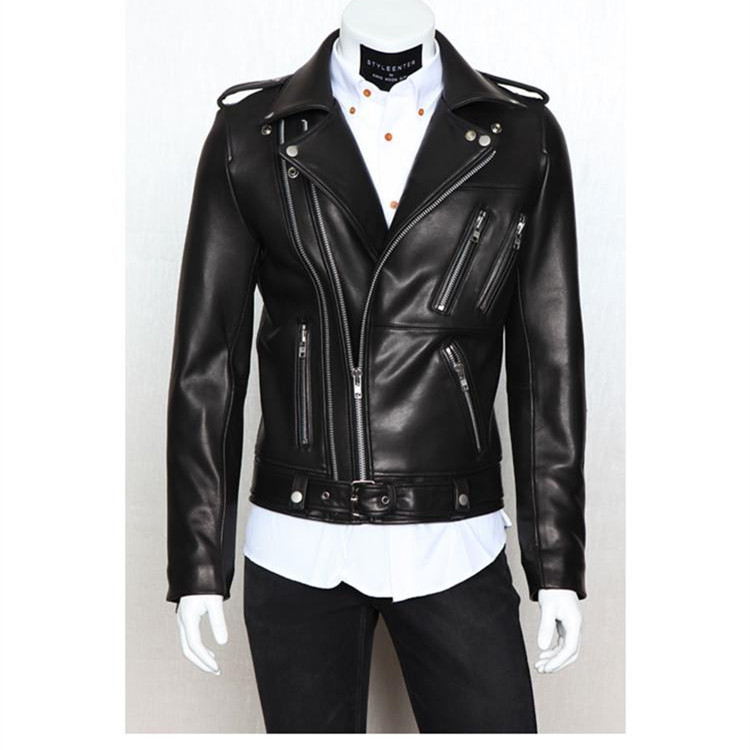 2017 Mode Casual Slim Hommes Veste En Cuir Design À Glissière Hommes En Cuir Veste En Cuir Véritable Veste Hommes Jaqueta Couro