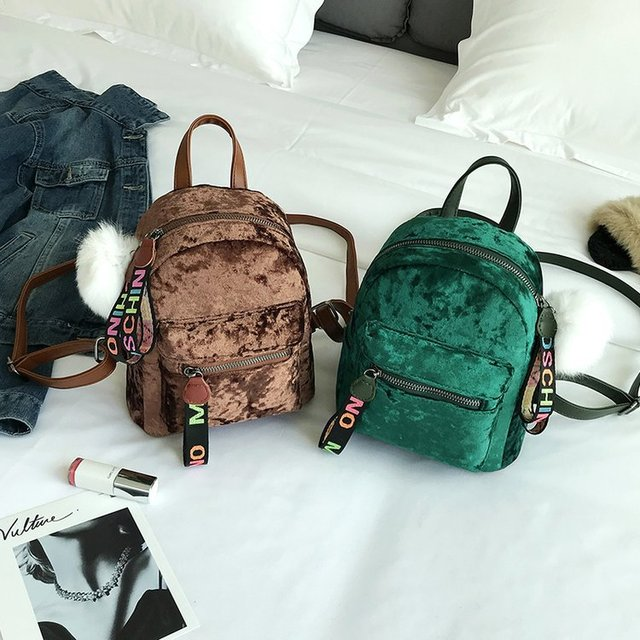 b7994c42a1 2018 new mini wild backbag female Korean velvet casual small bag travel bag  four color spring fashion backpack