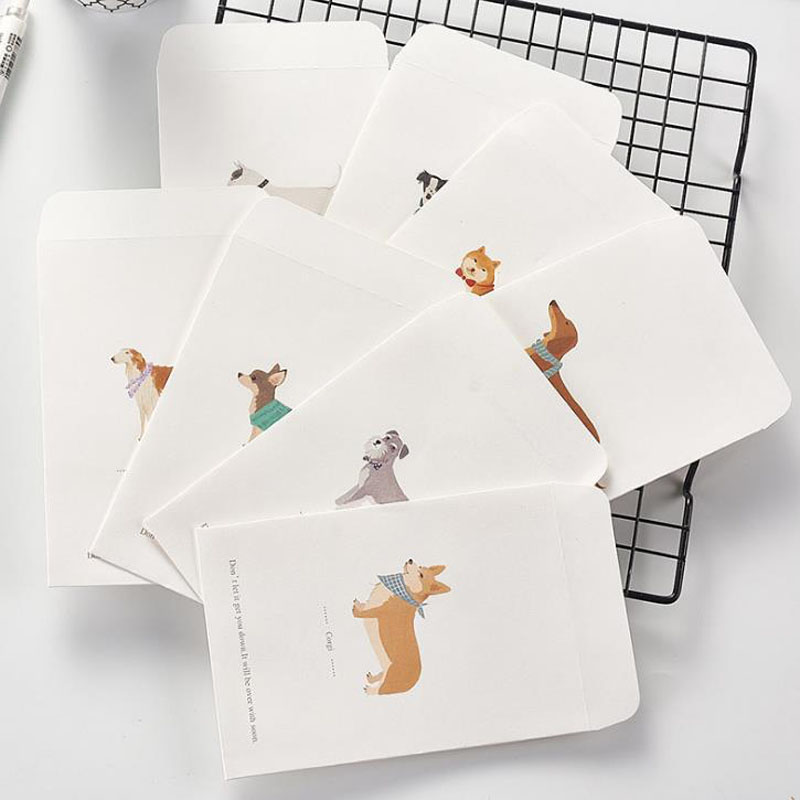 5 Pcs Kawaii Animal Shiba Schnauzer Kolkie Dog Novelty Envelope Letter Paper Message Card Letter Stationary Storage Paper Gift