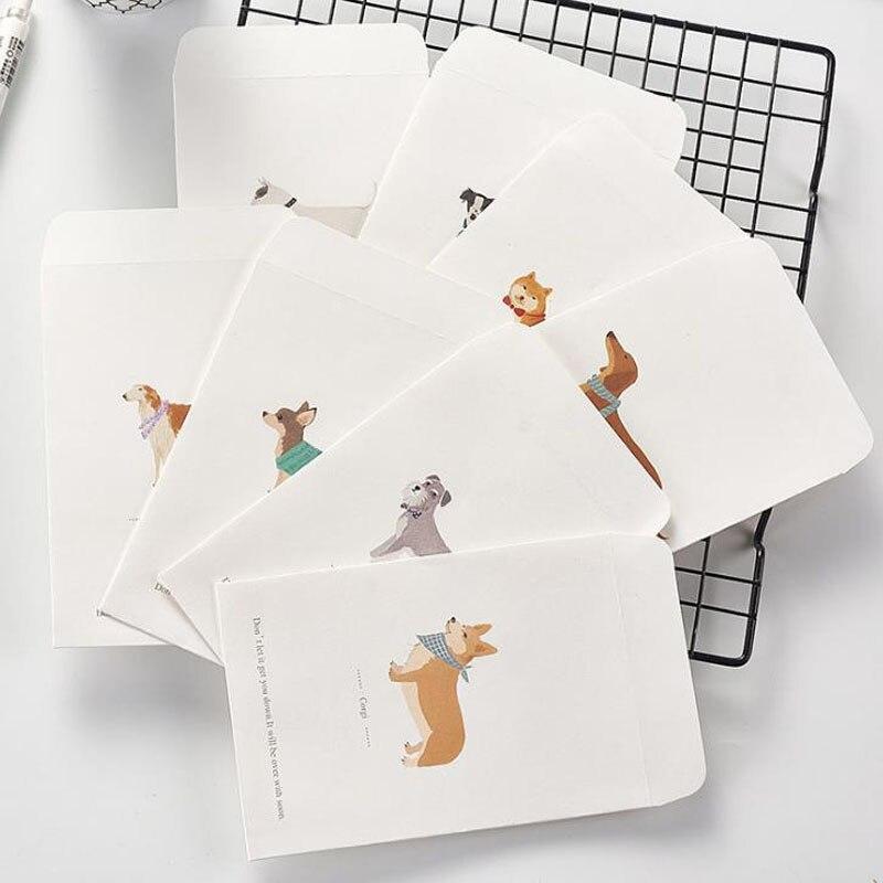 5 Pcs Kawaii Tier Shiba Schnauzer Kolkie Hund Neuheit Umschlag Brief Papier Nachricht Karte Brief Stationäre Lagerung Papier Geschenk ZuverläSsige Leistung Post- & Versandmaterialien Office & School Supplies