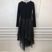 Асимметричное Платье черное платье Элегантное 2019 длинное платье Весна Лето шифоновое платье с круглым вырезом женское платье с длинными ру