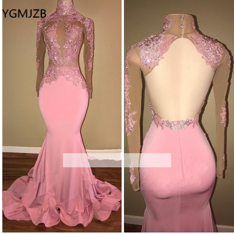 Sexy Open Back Mermaid Prom Dress Pink With Long Sleeves Lace Beads African Black Girls Formal Party Gown Evening Gala Dress