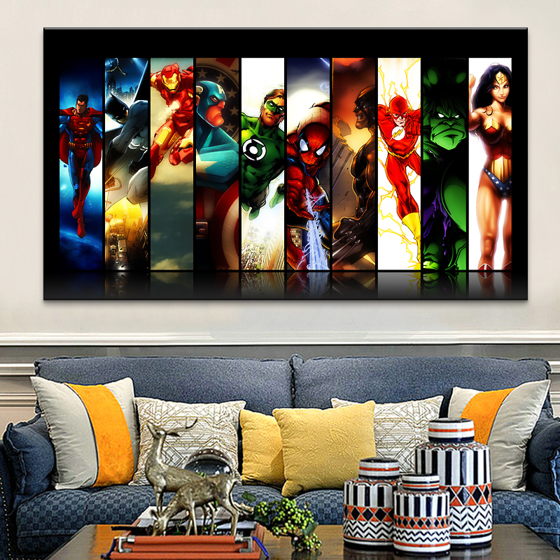 US $21.5 14% OFF|Free shipping Comics Marvel Avengers Super Heroes Poster  HD HOME WALL Decor Custom ART PRINT Silk Wallpaper unframed8-in Painting &  ...