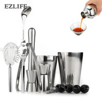 14Pcs/Set Cocktail Shaker Stainless Steel Ice Tong Mixer Drink Bartender Browser Kit Bars Set Tools Professional Bartender Tool