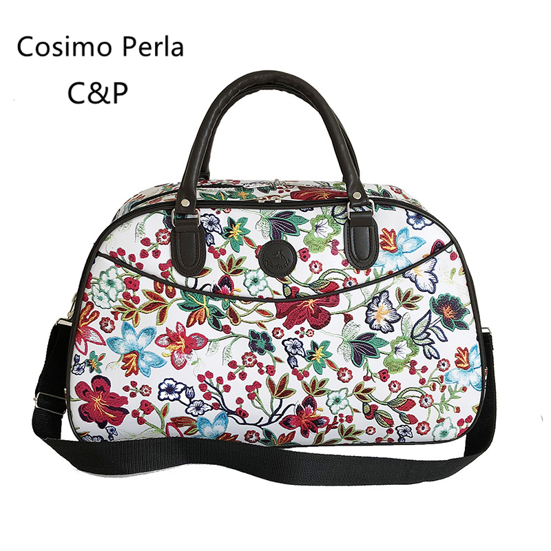PU Leather Floral Duffel Bags Big Women Travel Bags 2019 Winter Hand Luggage Fashion Portable Waterproof Overnight Weekend Bag