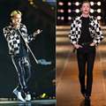 2016 New super stars Male singer Black and white stage leather motocyle jackets for dancer stage performance wear