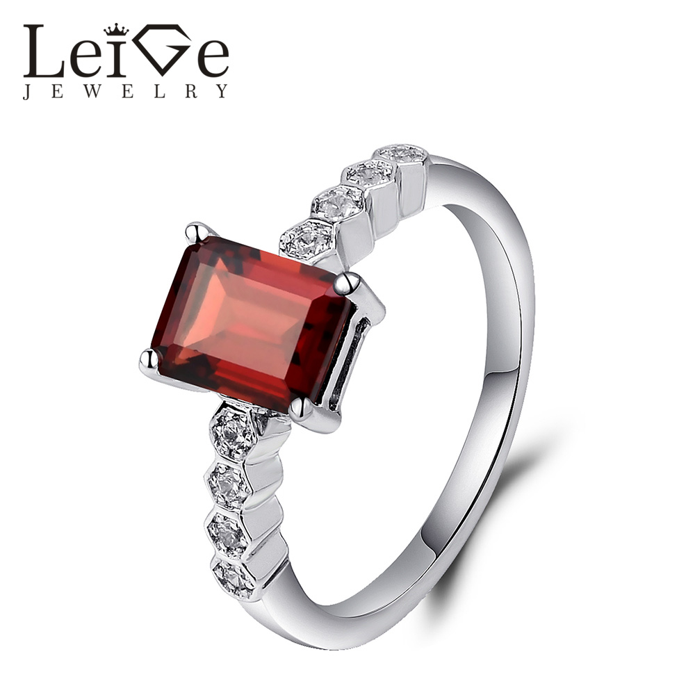 Leige Jewelry Natural Garnet Engagement Ring Red Gemstone Emerald Cut Silver 925 Promise Wedding Rings for Women Fine Jewelry men wedding band cz rings jewelry silver color anillos bague aneis ringen promise couple engagement rings for women