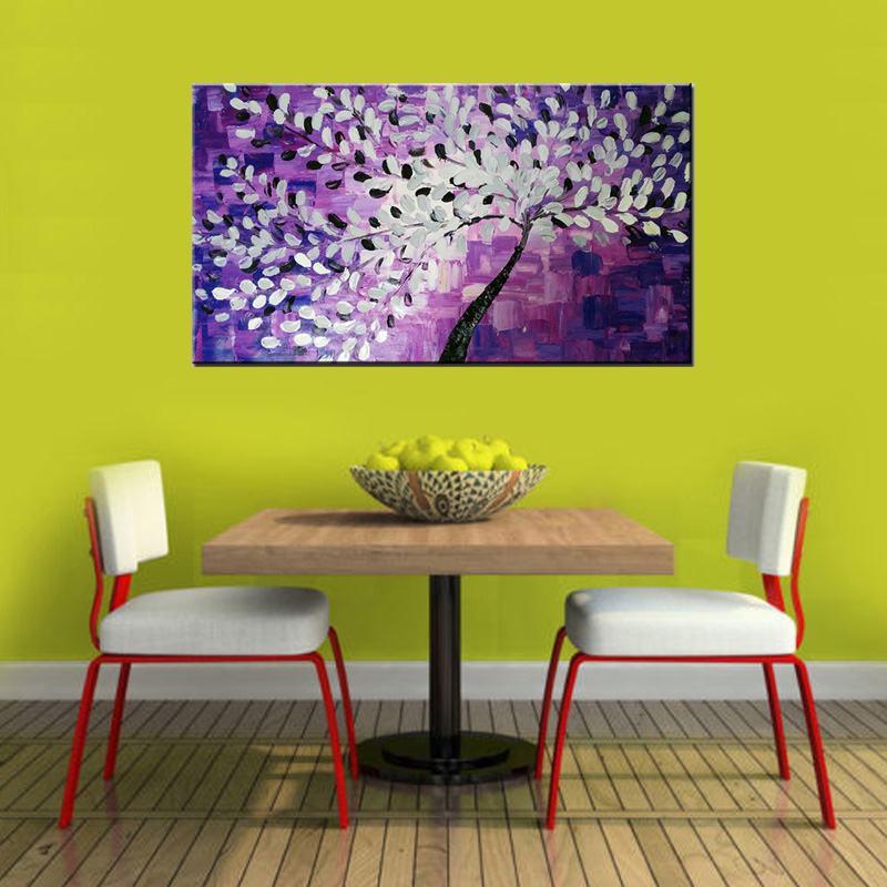 Hand Painted Textured Palette Knife Tree purple Flower Abstract ...