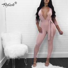 Pofash Sexy Deep V Neck Bandage Bodysuit Elegant Women High Waist Bow Belt Long Sleeve Bodycon Party Jumpsuit Overalls XL(China)