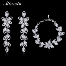 Minmin Crystal Leaf Bridal Jewelry Sets Silver Plated Bracelets Earrings Sets Wedding African Beads Jewelry Sets SL046+EH282