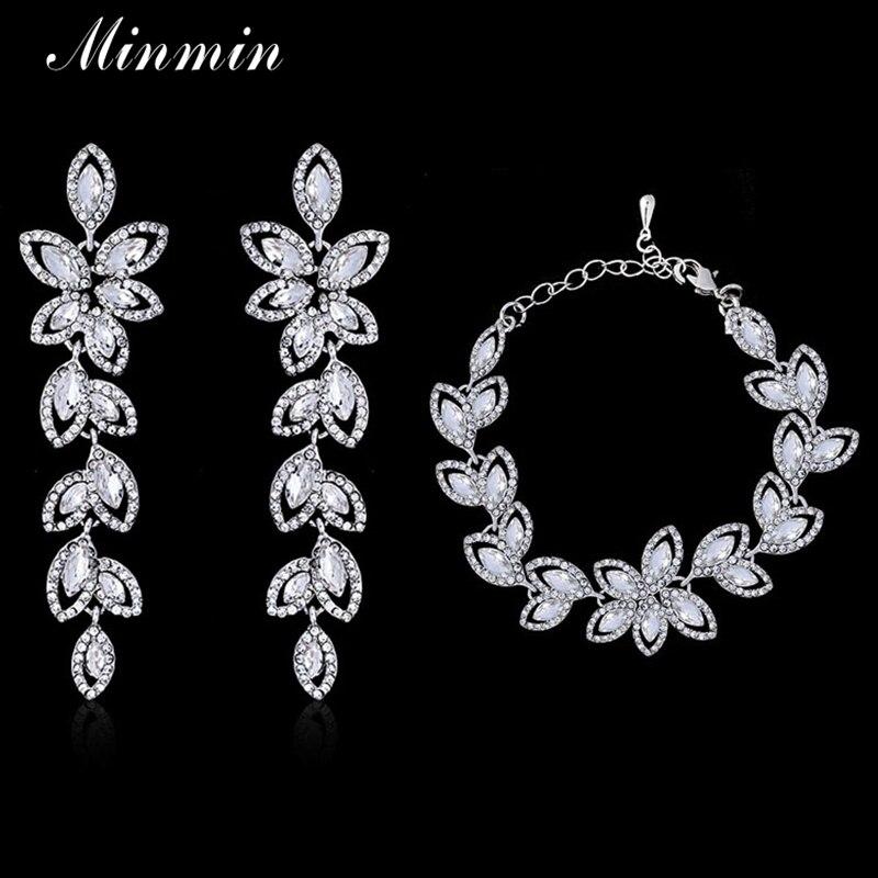 Minmin Leaf Crystal Jewelry Sets Bridal s