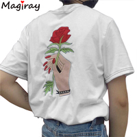 Embroidery Fashion Couples Clothes Lovers T Shirts 2016 Summer Rose Print Short Sleeve Unisex T Shirt