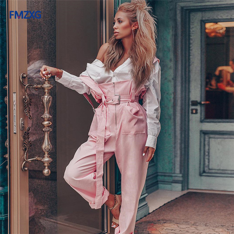 Autumn Sleeveless Rompers Women   Jumpsuit   Full Length Pants Slim Pink Overalls Wide Leg Pants Long Casual Trousers Cargo Pants