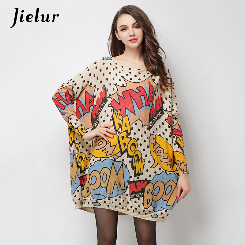 2017 Autumn New Large Size Clothes for Women Attractive Letter Printed Sweaters Pullovers Loose Fashion Knitted Sweater Long