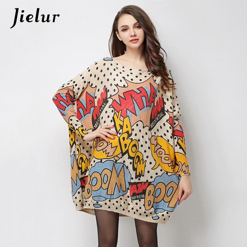 2019 Φθινόπωρο Νέο μεγάλο μέγεθος Ρούχα για τις γυναίκες Ελκυστικό Επιστολή Έντυπα Πουλόβερ Πουλόβερ Loose μόδα πλεκτό πουλόβερ Long