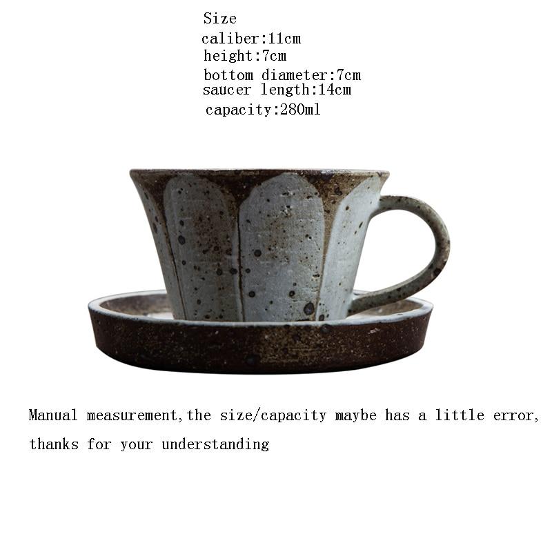 280 ml Japanischen stil Vintage Groben Keramik Kaffee Tasse Handgemachte Keramik Becher Kreative Nachmittag Teetasse Hause Drink mit Untertasse - 2