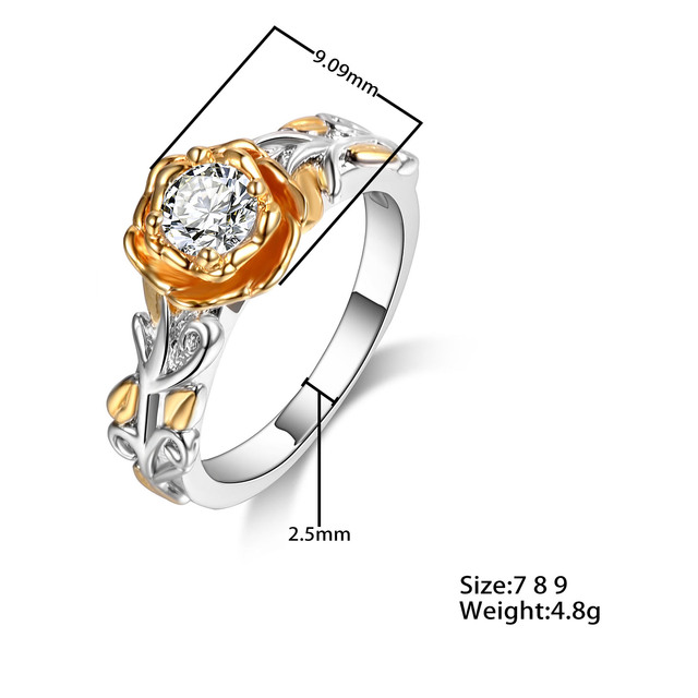 2017 New Fashion Gold Silver Flower Shaped Promise Rings for Women Wedding Engagement Party Jewelry