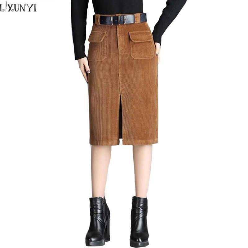 b64505653e8 LXUNYI Spring Autumn Formal Slim Corduroy Skirt Women Large Size Sexy Split Female  Midi Skirt Pencil High Waisted Skirts Womens