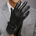 100% Genuine Leather Men Gloves Hand Woven Full-Finger Driving Goatskin Gloves High Quality Warm Winter Gloves M025NN