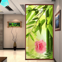 PSHINY 5D DIY Diamond embroidery sale Bamboo and Flower Decorative Painting Full Square Rhinestone cross stich