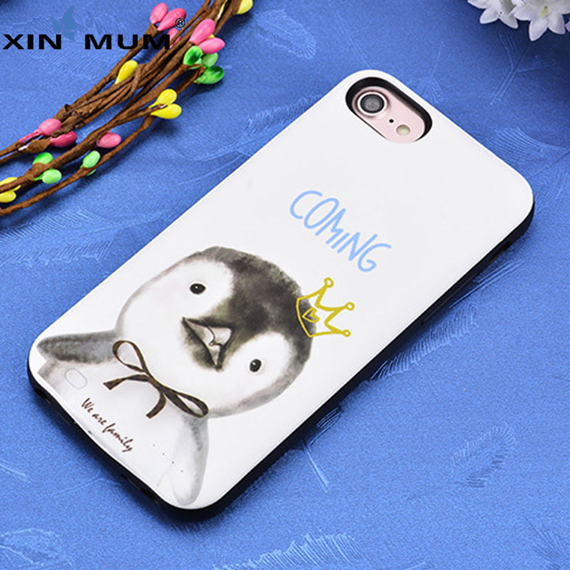 the latest dcc42 cff0a US $18.99 |XIN MUM Cartoon Cute Rabbit Penguin Power Bank Case For iPhone 7  6 6s Charger Case 3000 mAh Battery Charging Cover-in Battery Charger Cases  ...