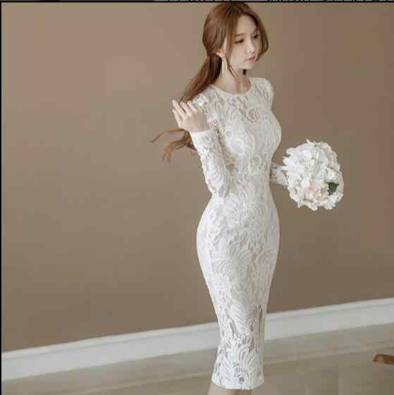 2019 秋の女性オフィスセクシーなロングスリーブ包帯ボディコンドレスホワイト鉛筆レースドレスヴィンテージドレス Vestidos E132
