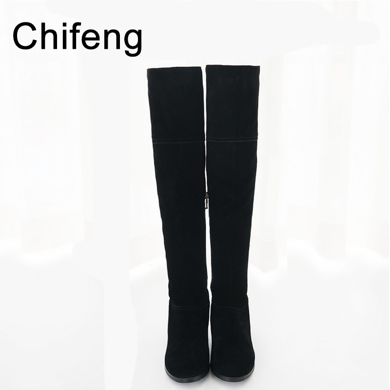 over the knee high boots women shoes womens booties new 2017 winter boot woman genuine leather high heels black shoe цены онлайн