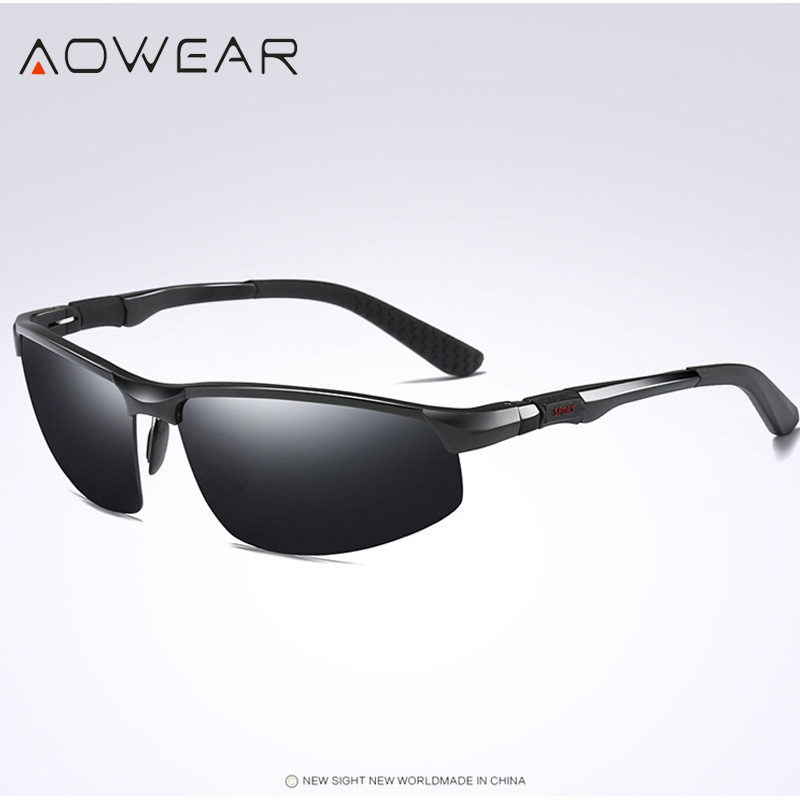 Новое поступление, мужские солнцезащитные очки AOWEAR, поляризационные, спортивные, солнцезащитные очки, мужские, UV400, антибликовые, для улицы, для вождения, зеркальные оттенки, для gafas - Цвет линз: Black