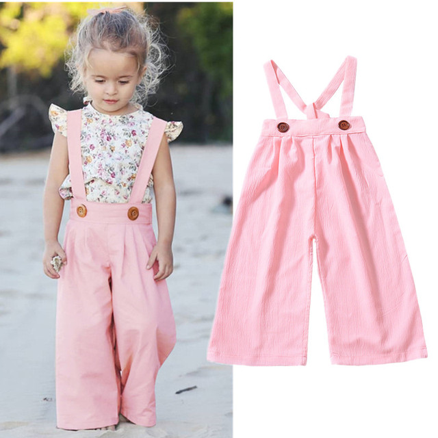 f08fb8557c4 Toddler Girls Winter Clothes Fashion Wide Leg Pants Infant Baby Pink Overalls  Kids Girls Jumpsuit Children Clothes