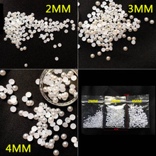 DIY 2MM,3MM,4MM white high quality flat plastic pearl semicircle phone accessories nail decoration beauty art