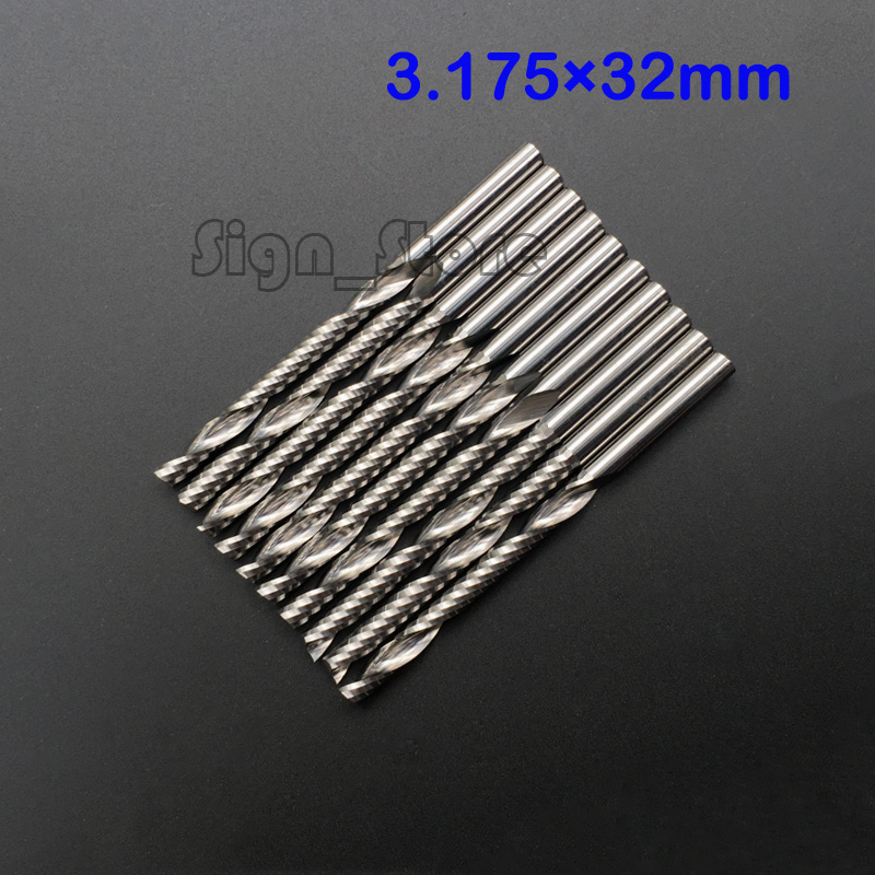 10pcs/lot 3.175*32mm Carbide CNC Router Bits Single Flute Tools, Cutting Tools, Sprial Drill Bits, Mill End Cutter Free Shipping  sharp 10pcs 4 32mm one sprial flute carbide end mill cnc router bits milling cutter for wood engraving machine tools mdf
