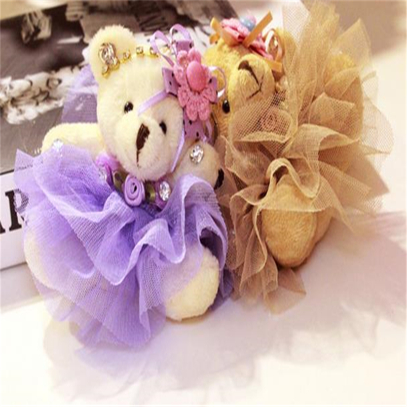 12pcs/lot Kawaii Teddy Bears Soft Plush Toys Keychain Bags Accessories Pendant Plush Doll Christmas Girls Gift Z179