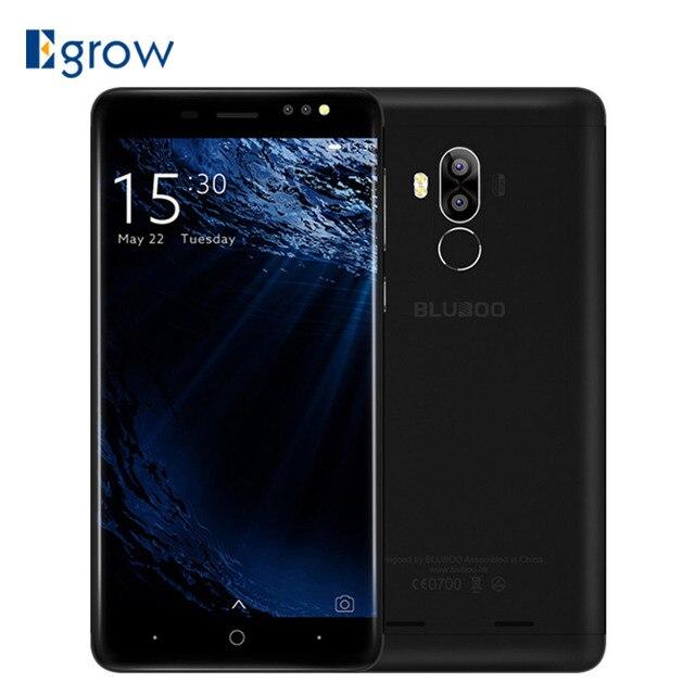 """Original BLUBOO D1 Mobile Téléphone 5.0 """"HD 8.0MP Double Caméra Arrière MTK6580A Quad Core 2G RAM 16G ROM Android 7.0 2600 mAh téléphones Cellulaires"""