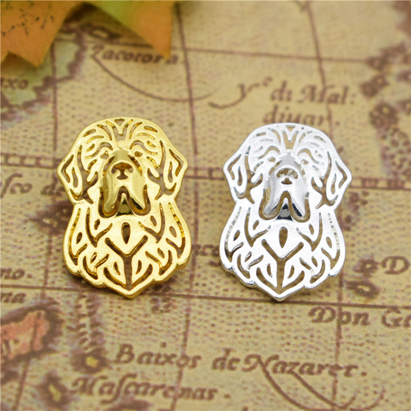 LPHZQH Fashion cute Newfoundland Broches Butterfly Clasp Collars Jewelery Lapel Pin Clothing Accessories Men's Gift gold color