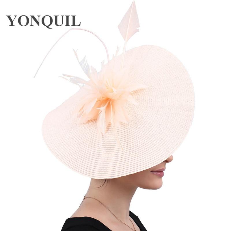 New Champagne Bridal Veils Hats Feather Flower Church Fascinators Headbands Hair Accessories Wedding Race Event Floral Headwear