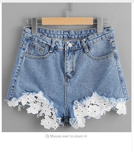 Contrast Crochet Frayed Hem Denim Shorts 2018 Summer Mid Waist Button Fly Women Bottoms Blue Ripped Plain Shorts