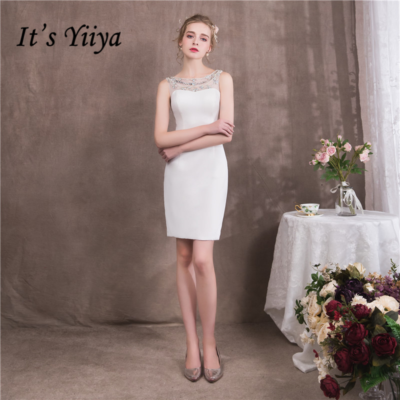 It's Yiiya 2018 O-Neck Sleevless Elegant Slim Evening   Dresses   Sexy Diamonds Beading Party Formal   Dress     Prom     Dresses   NX069