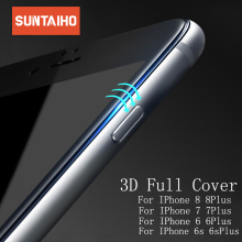 Suntaiho 3D Full Curved cover carbon fiber PET Soft Edge Tempered Glass For iPhone 7 7Plus Screen Protector For iPhone 6 6s Plus