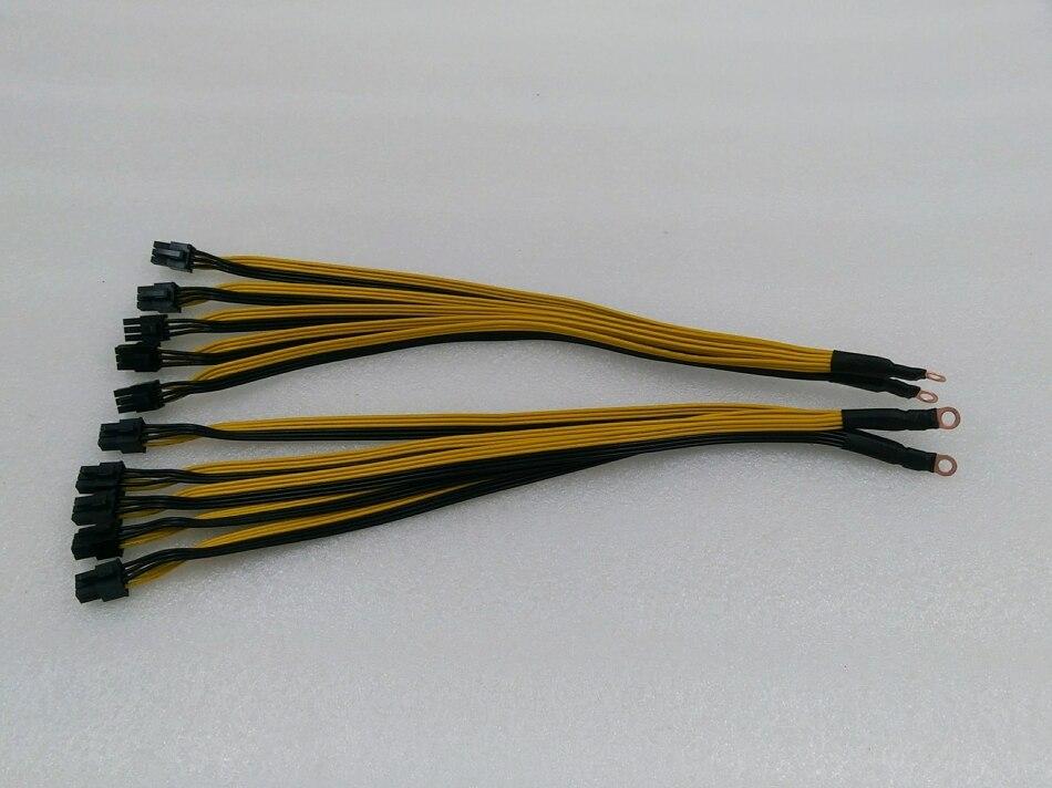 Mineur PSU Câble 10 pièces 6Pin Connecteurs Rompre Câble D'alimentation PCIe Express Pour Bitmain Antminer S9 B7 Z9 Z11 T2T T3 A9 A8 M3