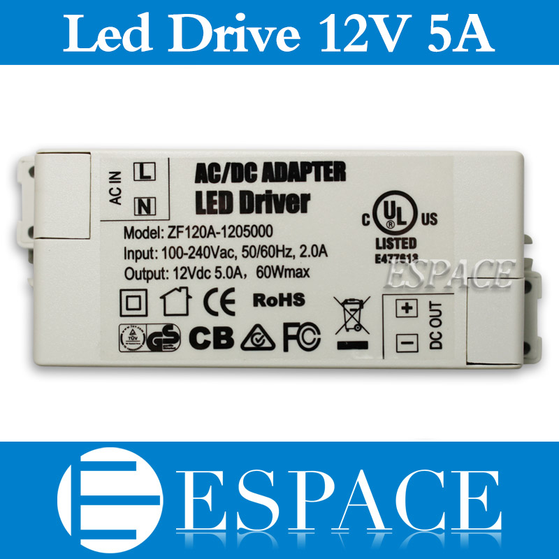 100PCS/LOT DC12V 5A 60W led driver power supply for indoor led strips for 3528/5050 LED strips free DHL