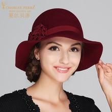 Charles Perra Brand Women Hat 2017 Autumn Winter Wool Caps Keep Warm Elegant Lady Fashion England Style Fedoras NEW 1707