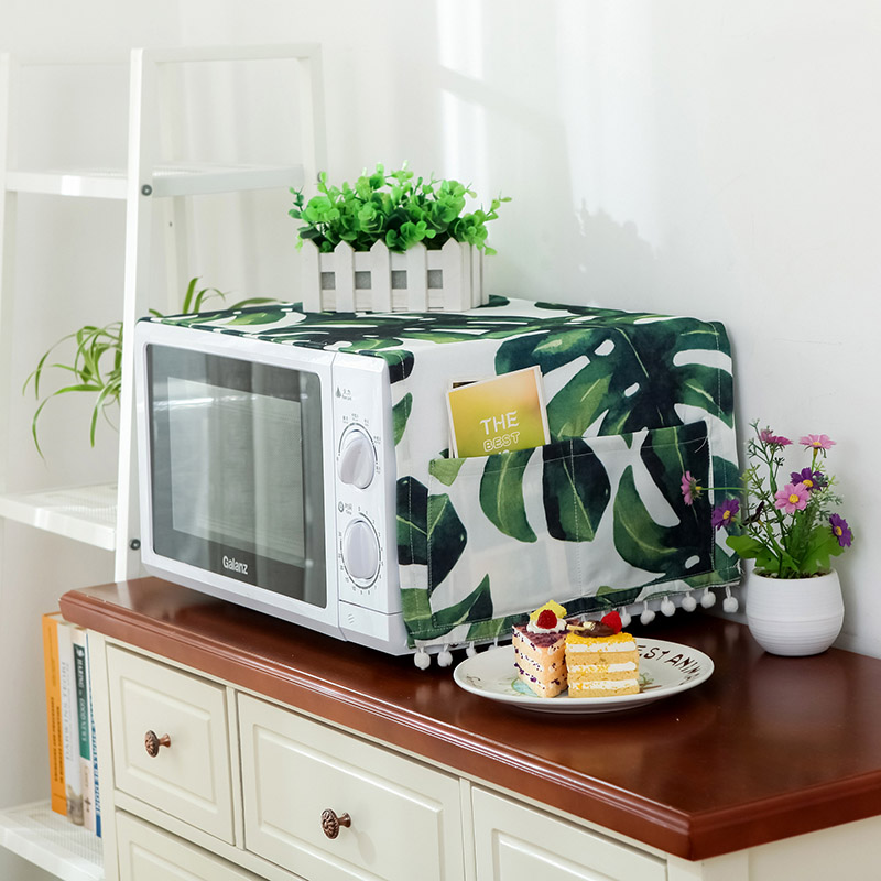 30*90cm Green Leaves Microwave Cover Cotton Linen Dust Cover Leaf Microwave Oven Hood Towel Cloth With Storage Bag