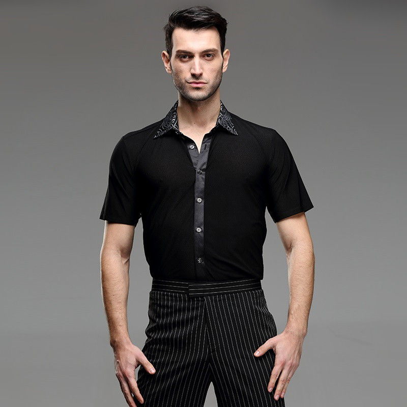 Picture of 8 Pattern Mens Latin Shirts Dance Top Mens Ballroom Dancewear Mens Latin Dance Costumes Stage Clothing For Men Ballroom Clothes