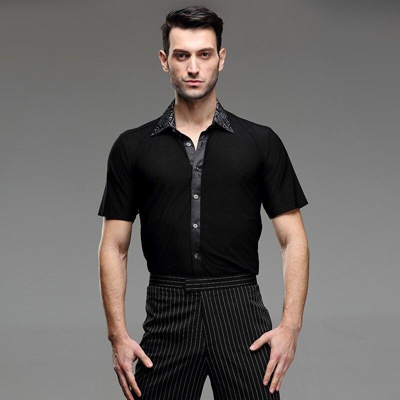 8 pattern mens latin shirts dance top mens ballroom for Patterned dress shirts for men
