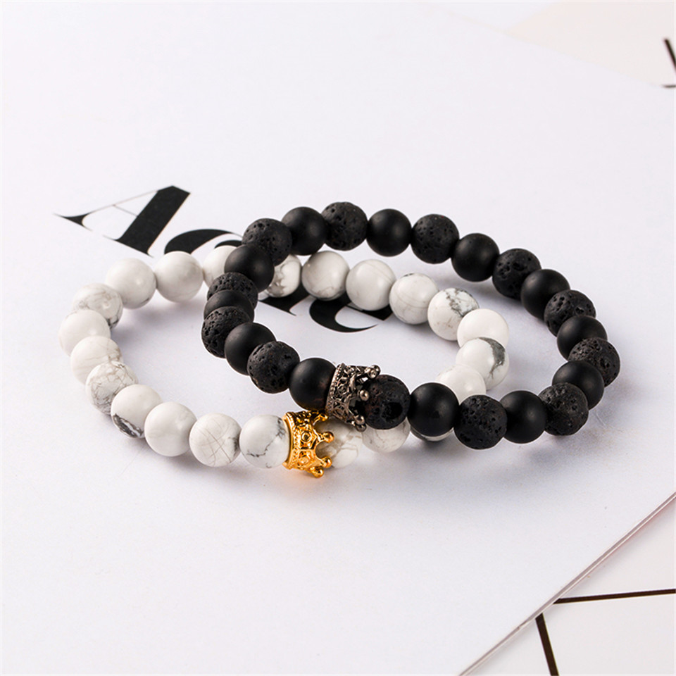 New trendy black white stone beaded bracelet Fashion gold silver color alloy crown bracelet for women men couple bangles jewelry 2