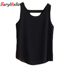 BerylBella Women Chiffon Blouse 2017 Summer Slim Strapless Loose Sleeveless Feminine Tops Large Size Womans Shirt Blouses