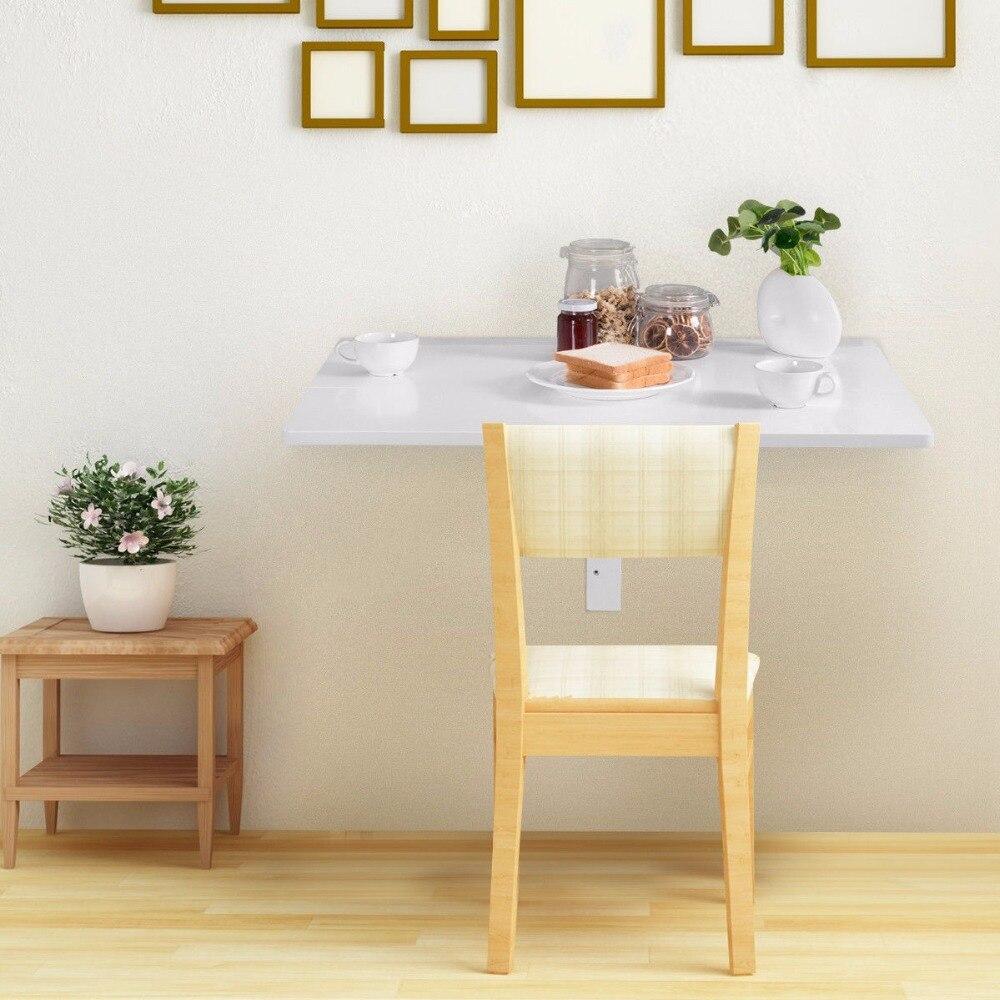 Giantex Table à poser murale pliante cuisine Table à manger bureau économiseur d'espace blanc bureau d'ordinateur HW60337 - 3